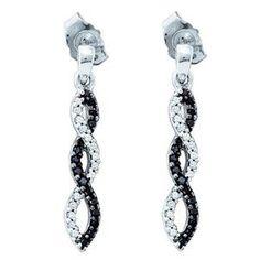 269367d8ee08c1 10k White Gold Black White Diamond Eternity Twisted Fashion Danggle Earrings  (1-5 Ctw Si-gh