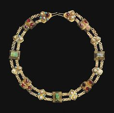 A Seljuk inset gold belt, Seljuk Iran or Anatolia, century Turks History Antique Necklace, Antique Jewelry, Gold Jewelry, Vintage Jewelry, Jewelry Accessories, Beaded Necklace, Beaded Bracelets, Necklaces, Medieval Jewelry
