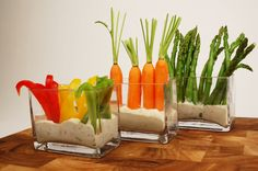 """What a perfect idea for whole """"growing"""" veg in dips for a garden centre"""