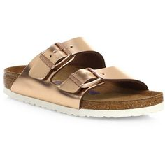 Birkenstock Arizona Metallic Leather Buckle Sandals ($135) ❤ liked on Polyvore featuring shoes, sandals, metallic sandals, birkenstock, silver metallic shoes, birkenstock footwear and birkenstock shoes