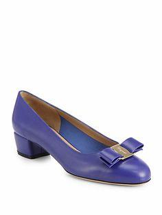 Shop now: Salvatore Ferragamo Vara Leather Mid-Heel Pumps
