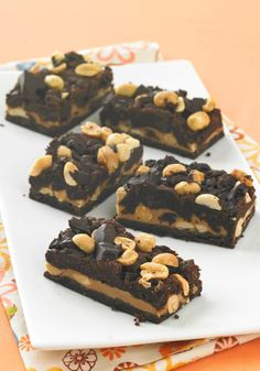 Chocolate-Peanut Butter Cookie Bars — With flavor just like Grandma's chocolate-peanut butter cookies, these dessert bars start with a cake mix, making prep a breeze.