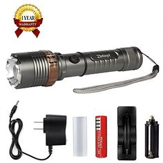 Tactical Flashlight Torch Zotoyi Rechargeable Flashlight Self Defense LED Handheld Flashlight with Adjustable Focus Zoom Water Resistant  18650 Battery Charger -- To view further for this item, visit the image link. Note:It is Affiliate Link to Amazon.