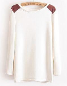Camiseta combinada polipiel en hombro manga larga-Blanco EUR€15.36