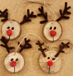 Wooden Reindeer Ornaments Wooden Reindeer Ornaments, tree limb, jute, chenille stems to sell kids christmas Kids Christmas Ornaments, Christmas Ornament Crafts, Xmas Crafts, Christmas Art, Handmade Christmas, Christmas Decorations, Kindergarten Christmas Crafts, Christmas Crafts For Kindergarteners, Easy To Make Christmas Ornaments