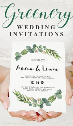 Stunning watercolor eucalyptus wedding invitations. This would be perfect for an outdoor or greenery wedding. Browse more gorgeous DIY greenery wedding invitations at www.papersizzle.com. // Green Wedding Theme // Green Leaves Wedding Invitation // Eucaly