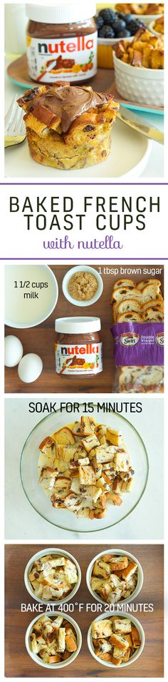 Keep raisin' the bar on breakfast with baked French toast cups and Nutella®. Cut Pepperidge Farm® Swirl Bread into cubes. Next, soak the bread cubes in an egg, milk and brown sugar mixture. Place soaked bread cubes into ramekins or a muffin pan. Finally, bake your cups for 20 minutes at 400°F and finish off with Nutella. Bon appétit! Sweet Breakfast, Breakfast Dishes, Breakfast Time, Breakfast Recipes, French Toast Bake, Nutella Recipes, Bon Appétit, Raisin, Recipe Of The Day