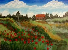 Monet's Poppies by Shanti Hunter. This is a wonderful painting with so many different shades of greens (all of which were mixed from blues and yellows). Notice the fine line of delicate trees on the farthest hills by the house. Great Job Shanti!