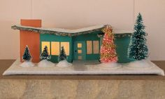 Butterfly roof ranch Putz house Your Own! Modern Christmas, Retro Christmas, Christmas Home, Christmas Holidays, Christmas Crafts, Christmas Decorations, Holiday Decorating, Decorating Ideas, Christmas Tables