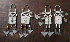 *Maasai Masai women's upper ear white beaded old worn jewelry*