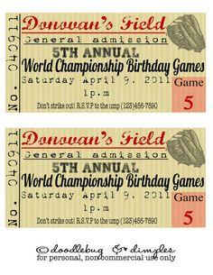 Vintage Inspired Baseball Ticket Printable