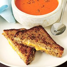 Tomato and Red Pepper Soup with Grilled Cheese