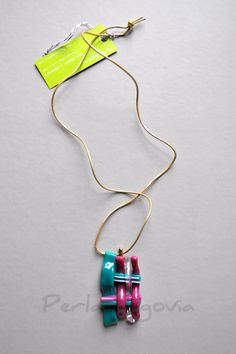 Woven Fused Art Glass Pendant Necklace  One of a by PerlaSegovia, $60.00
