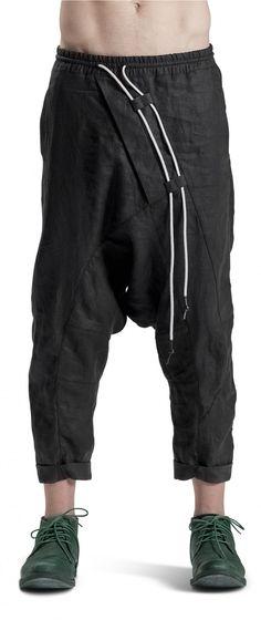 Powha distorted drop crotch black linen pants