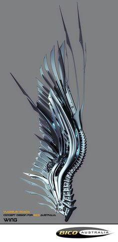 Axel's installed wings, designed to slice to both armor and air, almost 2 1/2 yards in wingspan.