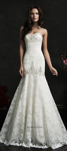 Lace Sweetheart Mermaid Wedding Dresses Sexy Bridal Gowns with Beadings Amelia Sposa Wedding Dress, Trumpet Style Wedding Dress, 2015 Wedding Dresses, Lace Mermaid Wedding Dress, Gorgeous Wedding Dress, Beautiful Gowns, Wedding Gowns, Bridesmaid Dresses, Lace Wedding
