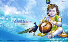 Krishna Janmashtami Wishes With Beautiful Bal Krishna Wallpaper Image