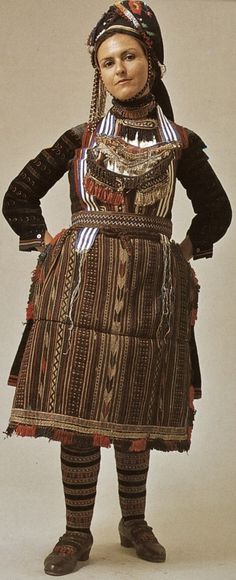 Drama (Greek Thrace).  The woman's Vlach festive costume version.  Clothing style: early 20th century.