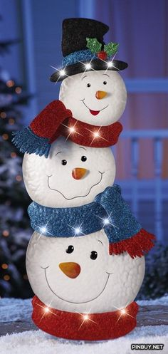 KNLstore LED Lighted Stacked Snowman Jack Frost Metal Tin Snowmen w/ Hat Blue Red Scarf White Lights Christmas Holiday Garden Stake Outdoor Yard Snow Man Decoration KNL Store Christmas Yard, Christmas Snowman, Christmas Projects, Simple Christmas, Christmas Holidays, Christmas Ornaments, Snowman Tree, Winter Holiday, Snowman Crafts