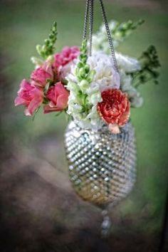 Hanging vases for Alyssa's wedding Open House...I may use the mason jars I already have...