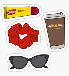 'Emma Chamberlain Starter Pack' Sticker by abbyconnellyy - - Tumblr Stickers, Phone Stickers, Preppy Stickers, Cute Stickers, Emma Chamberlain, Aesthetic Stickers, Sticker Design, Carmex, Hydro Flask