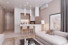 Small Apartment Kitchen, Small Apartment Design, Apartment Layout, Studio Apartment Decorating, Small Apartments, Kitchen Room Design, Home Room Design, Interior Design Living Room, Small Living Rooms