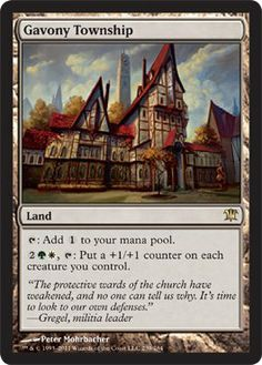Magic: the Gathering - Gavony Township - Innistrad by Wizards of the Coast. $2.08. A single individual card from the Magic: the Gathering (MTG) trading and collectible card game (TCG/CCG).. From the Innistrad set.. This is of Rare rarity.. Magic: the Gathering is a collectible card game created by Richard Garfield. In Magic, you play the role of a planeswalker who fights other planeswalkers for glory, knowledge, and conquest. Your deck of cards represents all th...