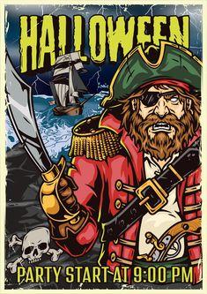 Colorful Halloween Pirate vector poster design. Find spooky Halloween vector designs on www.dgimstudio.com.