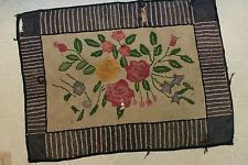 Vintage Antique Hooked Rug Rectangular As Found for Repair Restorations