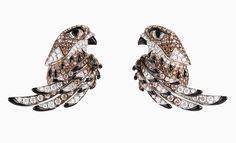 Серьги-трансформеры Falcon из белого золота с бриллиантами, кварцем и ониксом