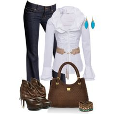 White and brown outfit