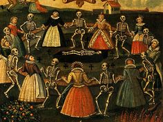 A detail from an oil painting depiction of the Dance of Death. History of Danse Macabre in Atlas Obscura. La Danse Macabre, Macabre Art, Dance Of Death, Witches Dance, The Graveyard Book, Skeleton Dance, Death Art, Pumpkin Art, Modern Dance