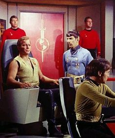 "Kirk (William Shatner), Mirror Universe Spock (Leonard Nimoy), and Mirror Universe Chekov (Walter Koenig) - Star Trek: The Original Series ""Mirror, Mirror"" (First Broadcast: October Star Trek 1966, Star Trek Tv, Star Wars, Star Trek Ships, Science Fiction, Mirror Universe, Canal 13, United Federation Of Planets, Star Trek Captains"