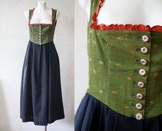 5951b90d7342d9 Landhaus Dirndl Dress / Austrian dirndl dress/ green orange ditsy print  pinafore deep cecolette dress/ green black octoberfest dress/ S