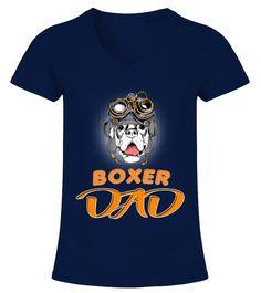 Boxer Dog Steampunk Helmet Dad  Funny Boxer T-shirt, Best Boxer T-shirt