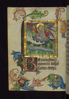 Illuminated manuscript, Prayer book of Bishop Leonhard von Laymingen of Passau, Creation of the Earth and Sea, with Laymingen heraldry, Walters Manuscript W.163, fol. 13v | Flickr - Photo Sharing!