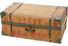 Vintage Chinese wicker suitcase with iron banding, 1940's
