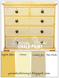 COLORWAYS Annie Sloan Chalk Paint English Yellow, Cream, Country Grey, and Pure White make a refreshing combination. Outside cabinets= pure white, inside= English yellow. grey and white granite top Annie Sloan Chalk Paint English Yellow, Yellow Chalk Paint, Using Chalk Paint, Chalk Paint Colors, Chalk Paint Projects, White Chalk, Annie Sloan Painted Furniture, Annie Sloan Paints, Chalk Paint Furniture