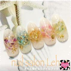 So so pretty Marble Nail Art, Gel Nail Art, Nail Manicure, Luv Nails, Asian Nails, Transparent Nails, Nail Jewels, Japanese Nail Art, Party Nails