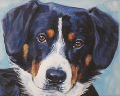 Entlebucher Mountain Dog portrait CANVAS print of by TheDogLover