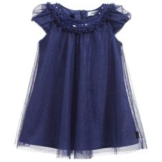 Really pretty, baby girls, short-sleeved, navy blue tulle cotton dress by BOSS. The dress has adouble layer of tulle which has a cute dotted pattern all over and asoft poplin cotton lining underneath. The neckline has sequins detail and pleated edges. At the back, there is a hidden zip fastener, to make changing easier.