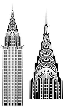 Stencil Designs from Stencil Kingdom Chrysler Building, New York Illustration, Art Deco Artwork, New York City Vacation, New York Theme, Art Deco Cards, Building Drawing, Streamline Moderne, Art Deco Buildings
