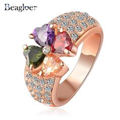 Beagloer Brand Magic Heart Clover Zircon Ring Real Rose Gold Plated Genuine SWA Element Flower Crystal Ring Ri-HQ1014-A