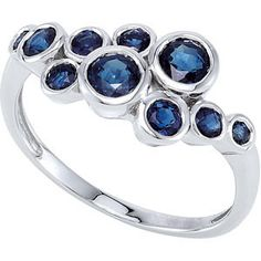 14K White Gold Ring featuring 10 GENUINE SAPPHIRES! The SAPPHIRE Total Weight = .90 CARATS! This ring is a Size 7 and it can be resized. *if you need your ring in a different size, we can resize the r