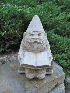 "Gnome: ""Gnewman"",  Bookworm Gnome Cement Statue, Garden Concrete Figure on Etsy, $29.95"