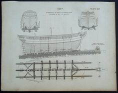 1820 Shipbuilding Slip, Boat Repair Engraving. Original Antique Print Over 200…