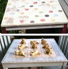 Before/After: Kids Little Pigs Tic Tac Toe Table