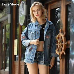 foremode 16 Korea Loose Jeans Jacket Blouse Badge Style Denim Jacket women print jackets women basic coats