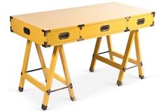 Yellow Lacquer Campaign Desk