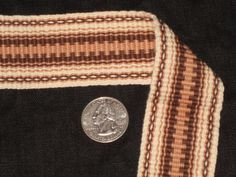 Cream tan and brown hand woven inkle trim over 14 by applegirl5